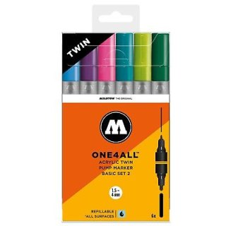 MOLOTOW - ONE4ALL Acrylic Twin Marker  BASIC-SET 2